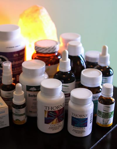 Naturopathic supplement bottles